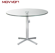 Simple folding small dining room round dining table with glass top and aluminium base