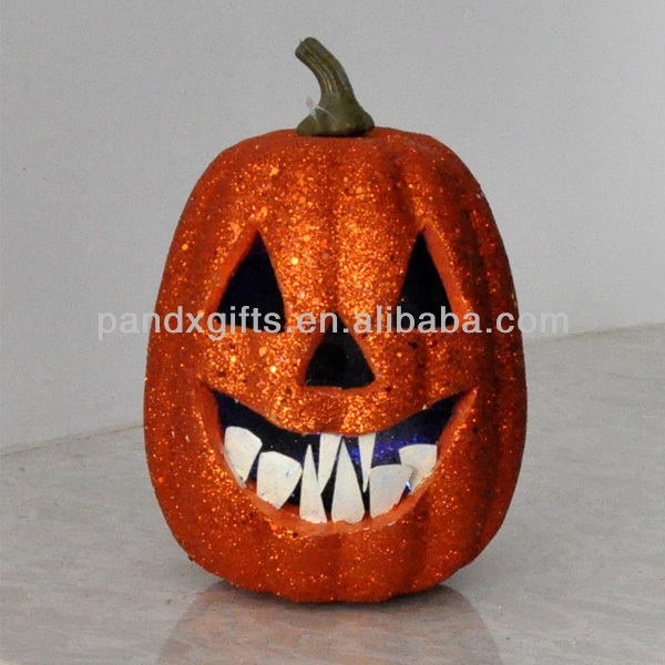 2016 Hot Sale Halloween Glittered white teeth and light up pumpkin