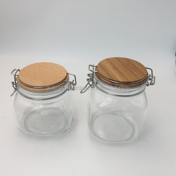 500ml 750ml Eco friendly airtight glass jar wooden lid,cork glass jar wholesale