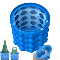 Ice Cube Maker Genie Space Saving Kitchen Bar Silicone Mold Tray Tools Ice Ball Maker