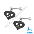 316 stainless steel ear tragus piercing anodized heart skull figure dangling