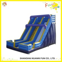 2015 newly design PVC 0.55mm three lanes inflatable water slide with pool made in China