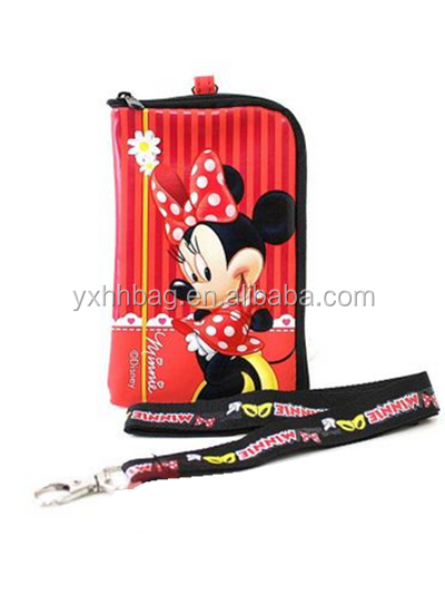 Min nie Mouse Phone Case Coin Bag wallet with Lanyard - Red