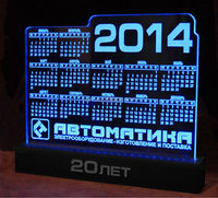 2014 hot sale acrylic LED desktop clear calendar from shenzhen