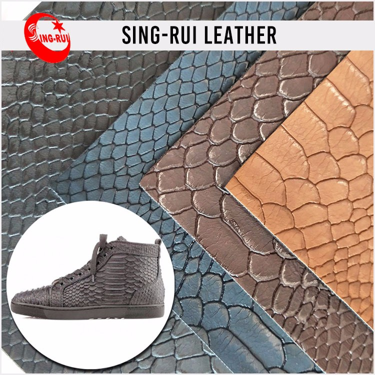 Embossed Pattern PU Material Shoe Leather