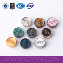 Round shaped custom logo embossed metal button rivets