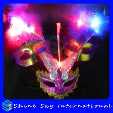 2014 Crazy Selling Multicolor Flashing Feather Mask