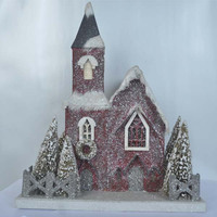 "2014 new china products for sale christmas paper house with red church and artificial chrismas tree "" from Shenzhen factory"
