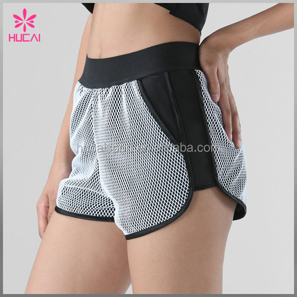 OEM 100%Polyester Sports Wear Mesh Running Shorts Women Custom