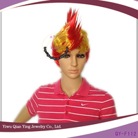 red and yellow cheap wholesale sports spain fan wigs