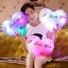 Romantic Music Colorful LED Light Up Glowing Heart Shaped Pillow For Lovers Gifts