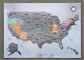 Personalized Scratch-off Us Map the United States of America A4 Size Poster Travel Silver Layer