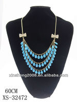 2013 new design three rows bule pearl necklace for gift