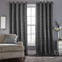 Wholesale luxury Eyelet blackout ready made curtain for living room sets