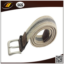 35mm Wide White Braided Nylon Belt with Square Buckle
