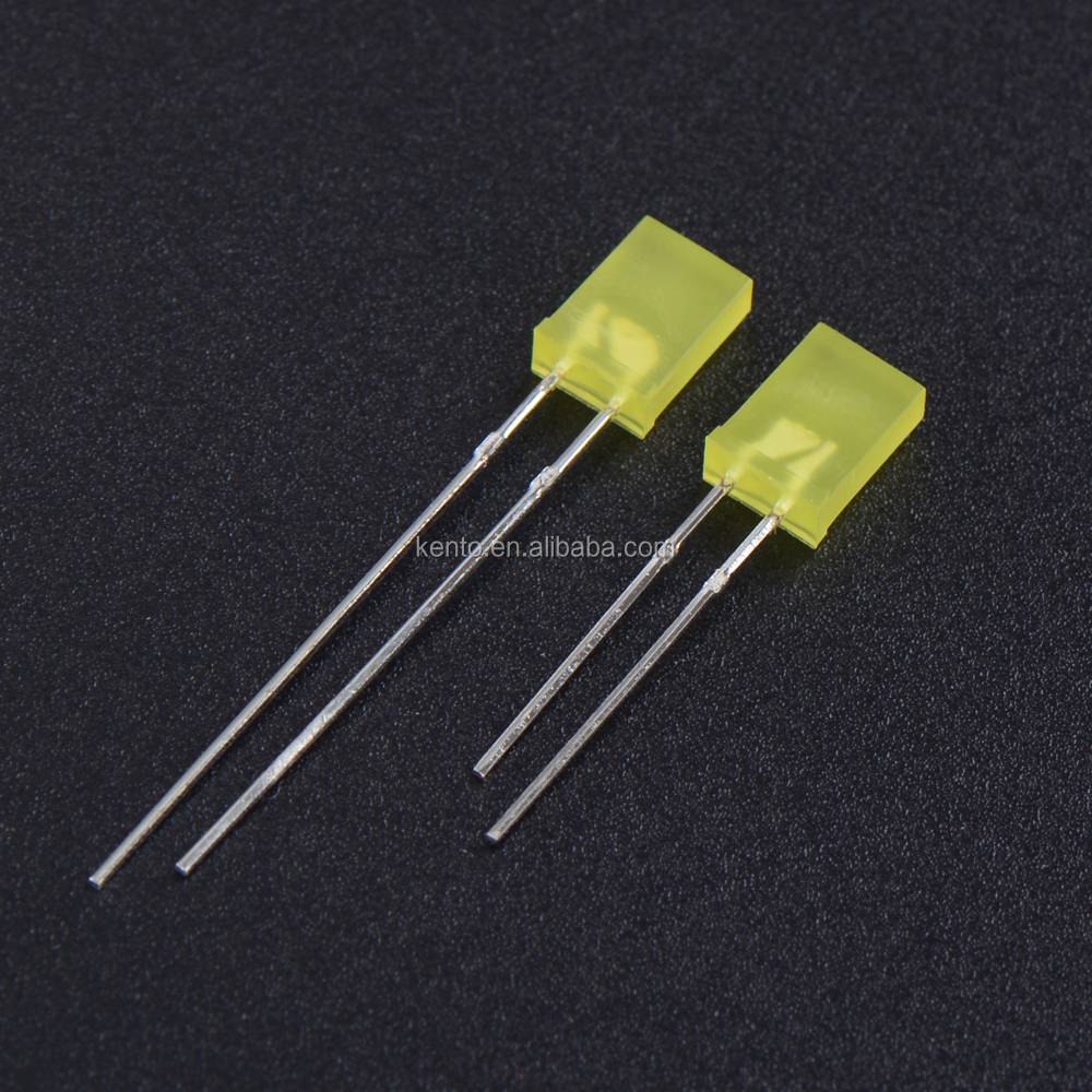 2X5X7mm rectangle yellow diffused dip led 257 lamp led diode