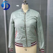 JADE hot new products fashion wholesale clothing satin fabric bomber woman varsity jacket
