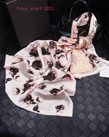 Soft silk rose pattern scarf