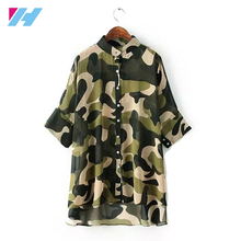2017 new fashion sheer summer long sleeves Camouflage floral print trendy women chiffon style blouse