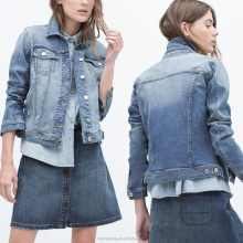 2015 ladies new fancy plain heavy vintage washed crop denim jackets