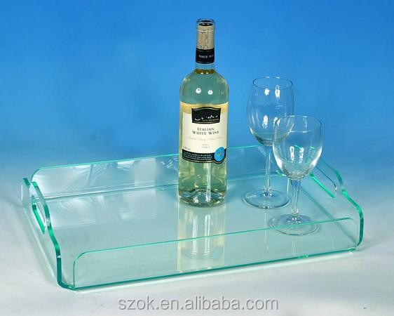 High quality rectangular acrylic serving tray with handle