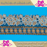 high quality bridal orange embroidery african french lace