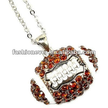 Sport Jewelry Brown Crystal Rhinestone Football Pendant Necklace Fashion Necklace
