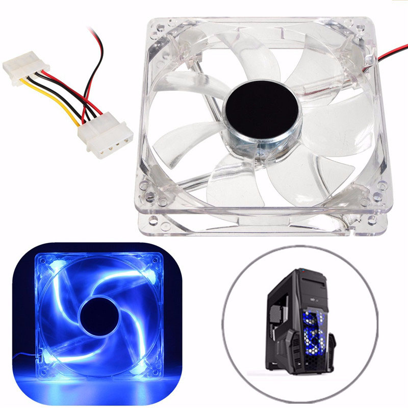 12V LED 120mm Computer Case Fan Cooling 4 Pin CPU Cooler Thermal Heat Sink Blue Light For PC Laptop Notebook 120x120x25mm