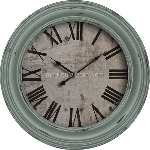 Wall decoration light blue antique metal clock