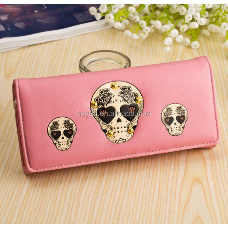 Wholesale New Fashion Ladies Skull head Leather Wallets Purse for women