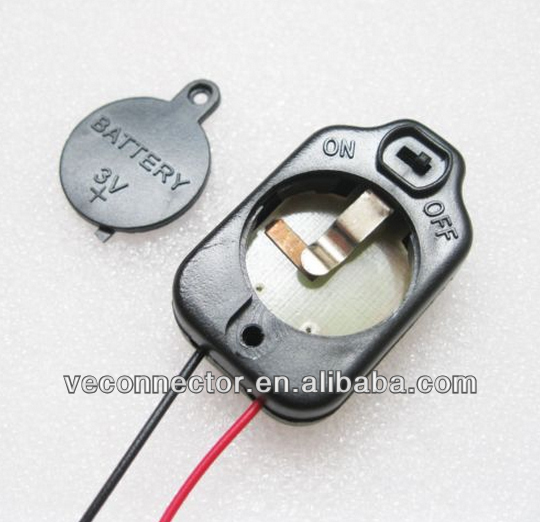 1X CR2032 3V battery holder with leads and on/off switch