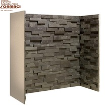 slate fireplace mantel surround stacked veneer cultural tiles living room
