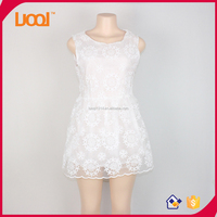 2016 Guangzhou Latest summer White sleeveless lace women Dresses Made In China