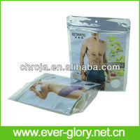 Stand Up Zipper Top Front Clear Euro Hole Polybag For Apparel