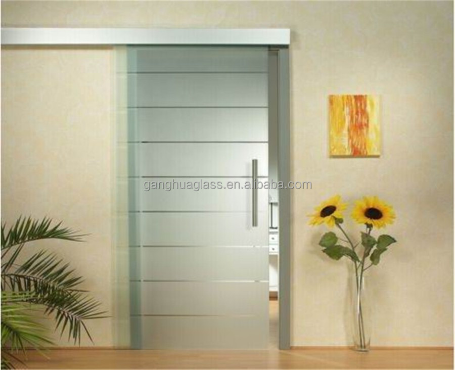 Acid Etched Frost Hanging Sliding Tempered Glass Door(GS003)