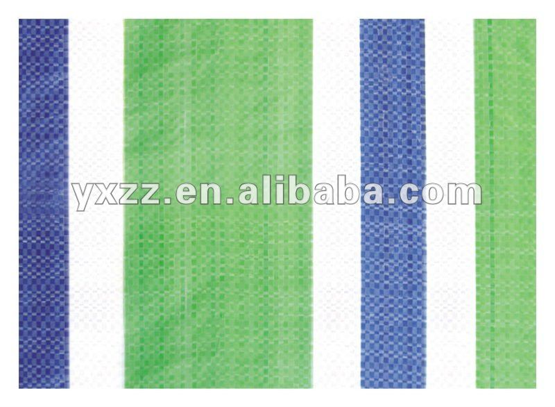 PE tarpaulin - blue, white and green stripes tarp, tarpaulin fabric