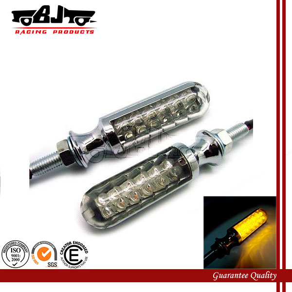 BJ-SL-007 Aluminum Alloy Chrome 12V Motorcycle Turn Signals LED Light Indicators Flashers