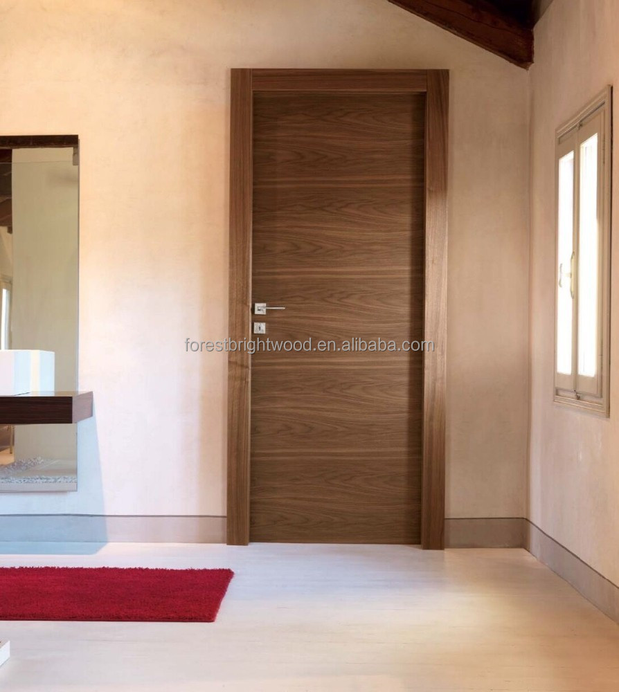 Black Walnut Veneered Solid Core Flush Doors Wooden Design