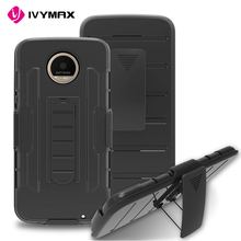 IVYMAX 2017 Cheapest phone case for Moto z2 play cover shell silicon holster combo with kickstand Case for Moto z2 play