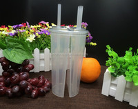 PP plastic Twin double Cup Split Cup for boba tea