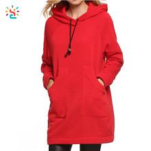 New arrival long ski winter red hoodie women swag long line hoodie hip hop private label blank hoodies