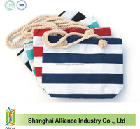 Rope Handle Navy and White Striped Cotton Bag / Canvas Beach Bags