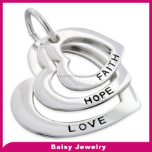 shiny fashion high polish stainless steel wholesale faith hope love charms