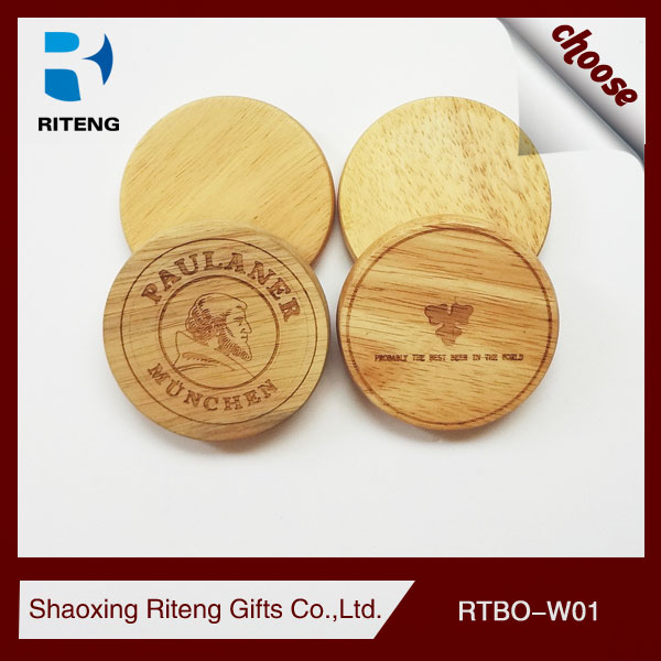 Personlized Round Shaped Wooden beer Coaster Bottle opener