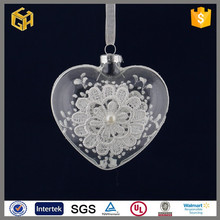 Hand blown beautiful hanging clear white flowers glass ball,cheap christmas decorations sale