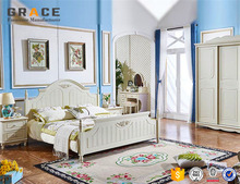 white luxury french style bedroom furniture set made in Foshan