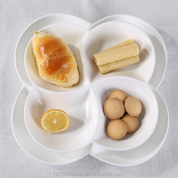Hot sale white 4 compartment grids dish/<strong>plates</strong>