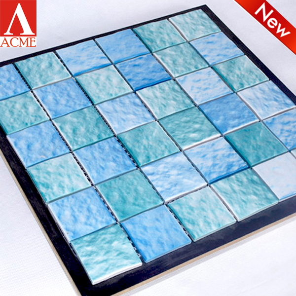 cheap swimming pool tile mixed blue mosaic ceramic tile china supplier