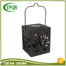 Garden ornament type antique style battery rechargeable metal solar led lantern