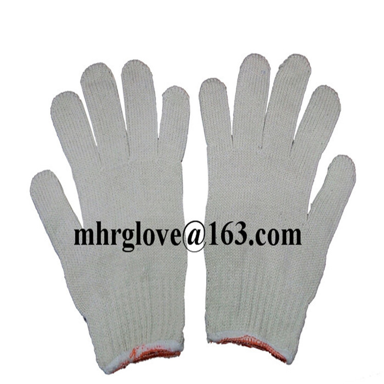 Brand MHR 7gauge good quality bleach white color PVC dotted safety glove/best selling product/personal safety equipment
